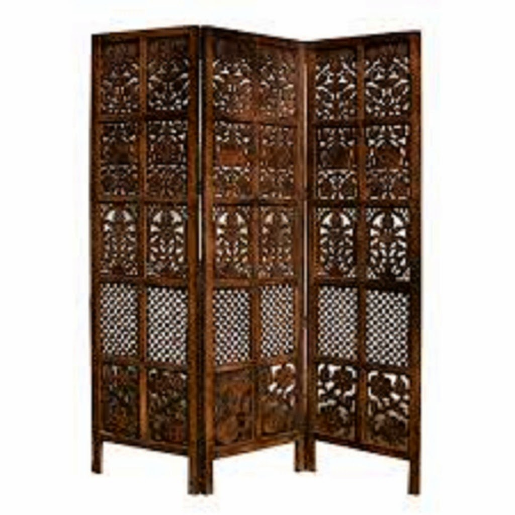 White Carved Room Divider
